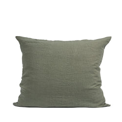 Olijfgroen linnen pillow case