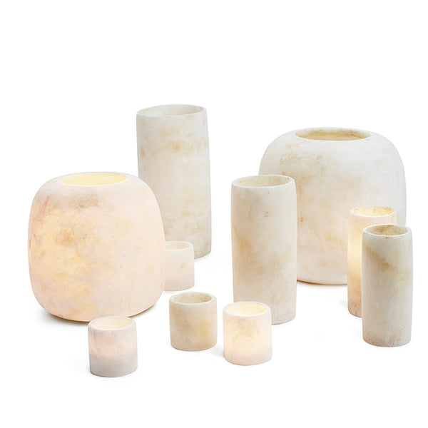 Alabaster candle holder set