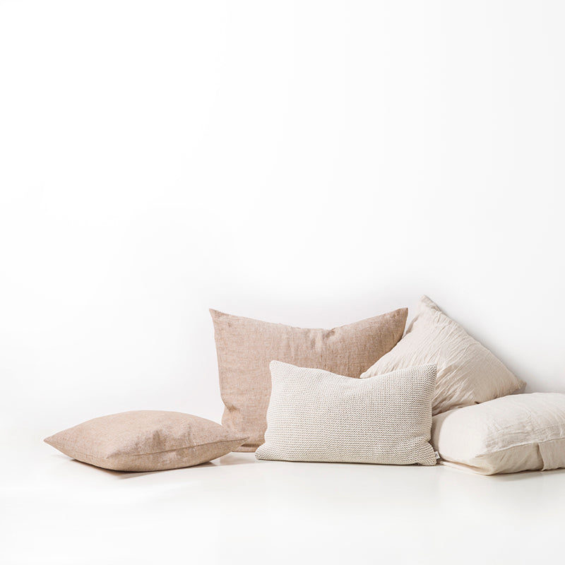 Linen cushion hazel