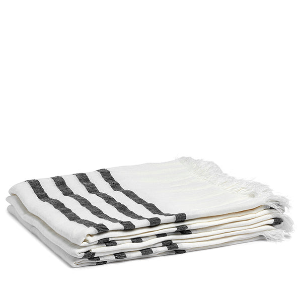 Linen hamam towel black stripe
