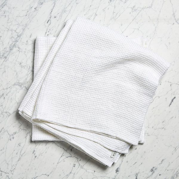 linen waffle towel pure white