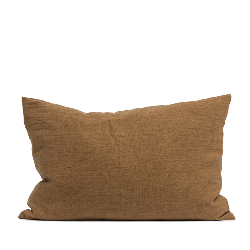 Linen cushion cinnamon rectangular