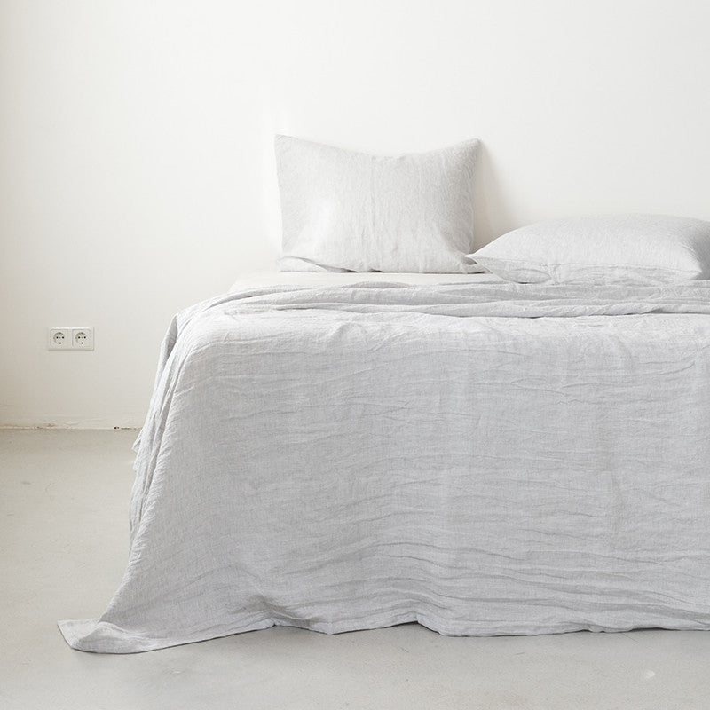 Linen flat sheet misty grey
