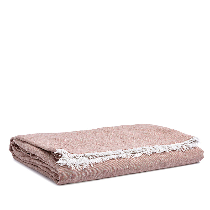 Linen throw pink salt