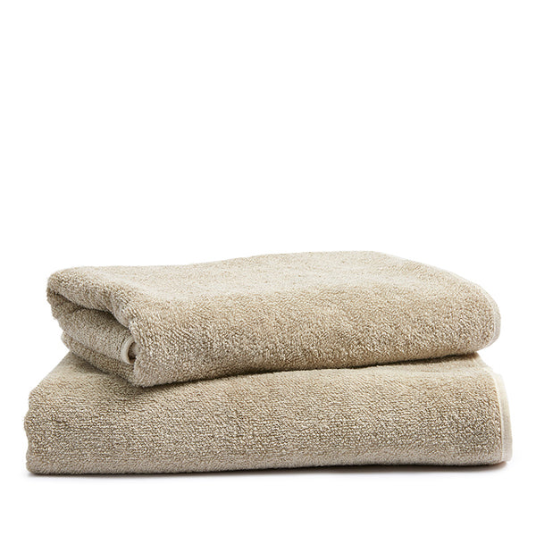Linen terry bath towel flax