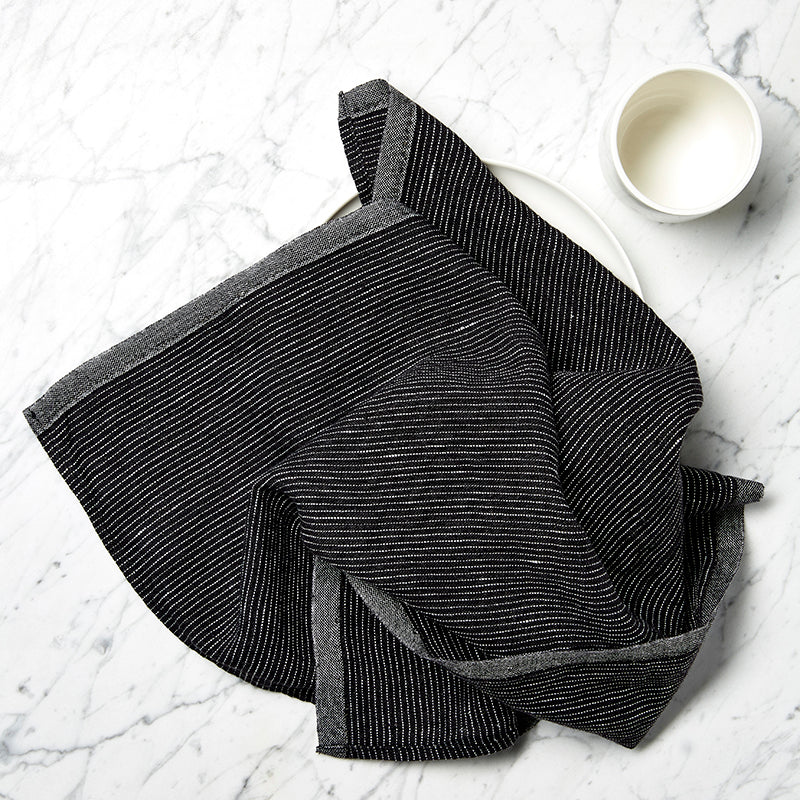 Black striped linen tea towel By Mölle