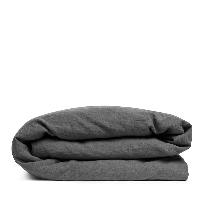 Linen duvet cover pebble solid