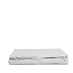 Linen tablecloth misty grey fringe