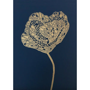 Poppy Lino Print gold/indigo blue