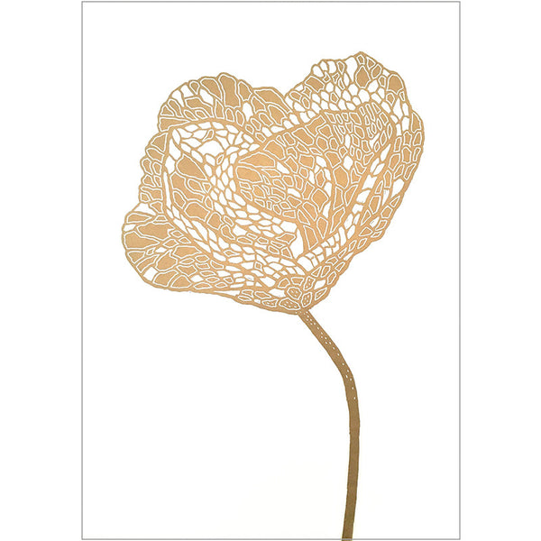 Poppy Lino Print gold/white