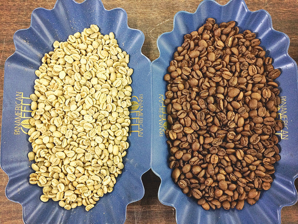 Natural Processed Brazil, raw green coffee on the left, and roasted coffee on right.