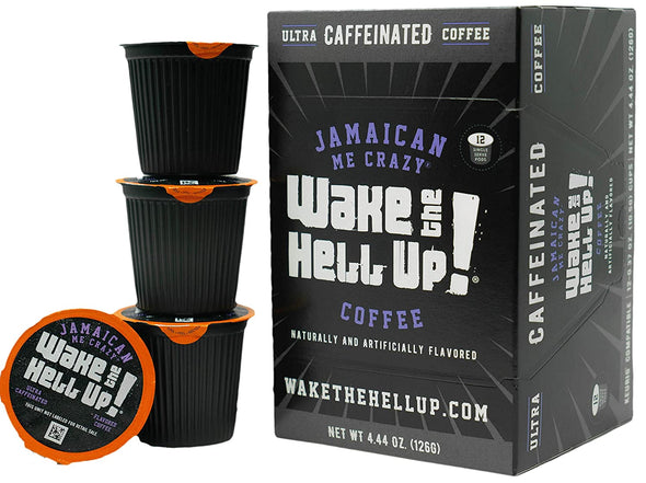 Wake The Hell Up!®️ Single Serve K-Cup Compatible Jamaican Me Crazy® Flavored Pods - Utica Coffee Roasting Co.