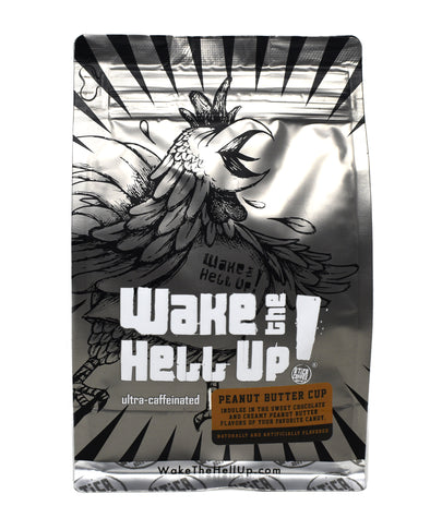 Wake The Hell Up! Peanut Butter Cup Flavored Coffee - Utica Coffee Roasting Co.