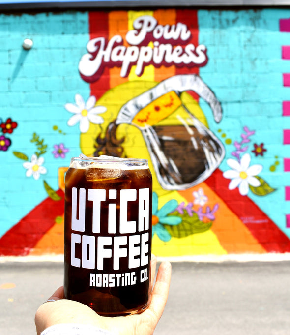 Utica Coffee Soda Can Glass