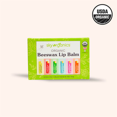 6 pack lip balm box with USDA organic logo