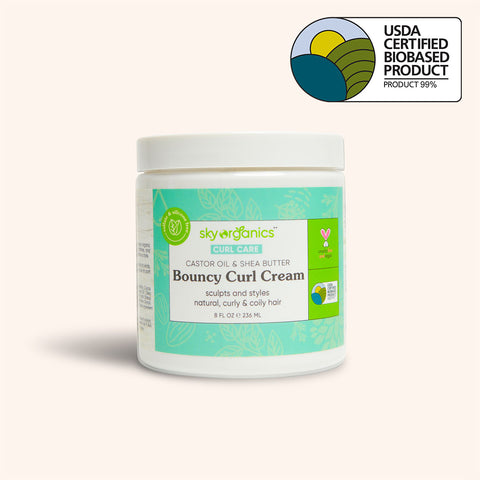 Bouncy curl cream tub with USDA logo