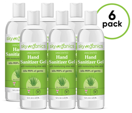 Unscented Hand Sanitizer Gel - 6 Pack (6 x 16 fl oz) Large size - FDA approved formula
