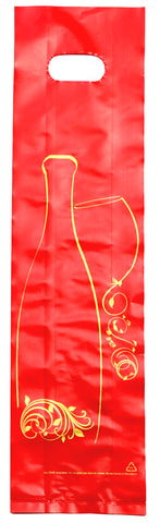 DittaDisplay Retail solutions sac plastique poignée découpée rouge or motif bouteille plastic bag with cut-out handle red gold bottle motif Plastiktüte mit ausgeschnittenem Henkel rot gold Flaschendesign
