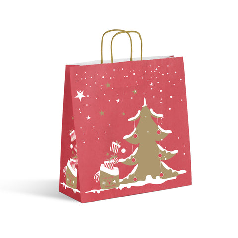 Ditta Display Retail Solutions sac cabas Noël kraft blanc impression rouge/or poignées torsadées or mat weiße Kraft-Weihnachtseinkaufstasche mit rot/goldenem Aufdruck und mattgoldenen gedrehten Henkeln white kraft Christmas tote bag red/gold print matt gold twisted handles