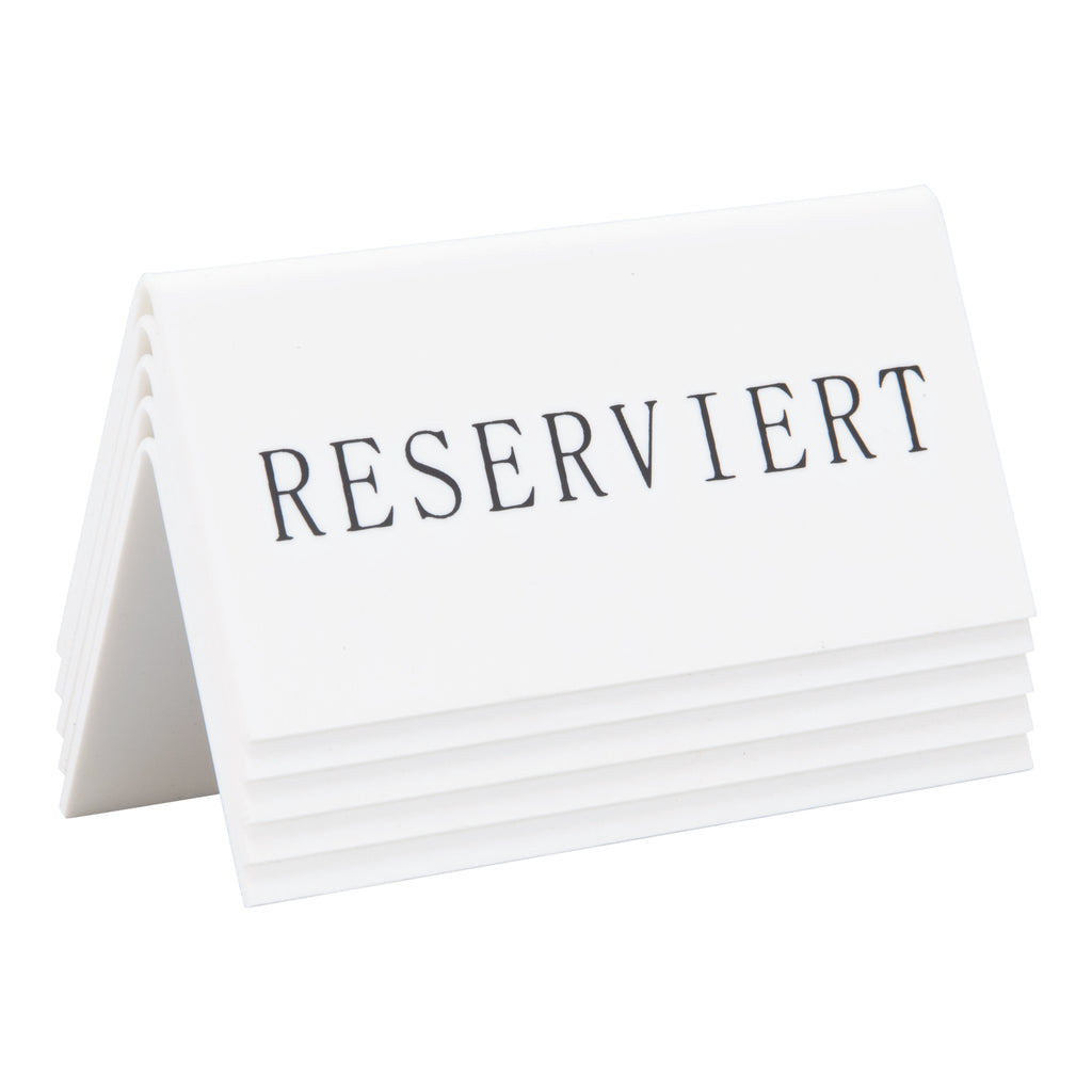 "Lot de 5 Etiquettes réservation de table ""Reserviert"" TN-RES-DE-WT Blanc"