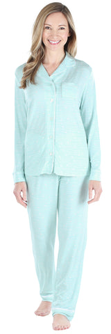 bSoft Women's Breathable Soft 2-Piece Long Sleeve Button-Down Pajama Lounger Set in Cat Tail