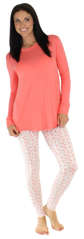 bSoft Women's Bamboo Jersey Long Sleeve Tunic and Leggings Pajama Set in Bubble Gum