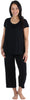 bSoft Women's Bamboo Jersey Capri Set with Pockets in  Black