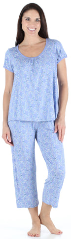 bSoft Women's Bamboo Jersey Capri Set with Pockets in Bird Trellis