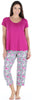 bSoft Women's Bamboo Jersey Capri Set with Pockets in Raspberry Blossoms - Solid Top