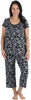 bSoft Women's Bamboo Jersey Capri Set with Pockets in  Black & White Floral