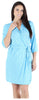 bSoft Women's Bamboo Jersey Wrap Robe in Blue Ditsy Floral