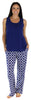 bSoft Women's Bamboo Jersey Tank and Pant Pajama Set in Navy Quatrefoil