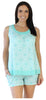 bSoft Women's Sleepwear Bamboo Jersey Racerback Tank and Short Pajama Pj Set in Teal Mosiac