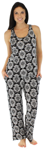 bSoft Women's Bamboo Jersey Tank and Pant Pajama in Martini Damask Black