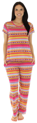 bSoft Women's Modal Short Sleeve and Pant Pajama in Fun Fairisle