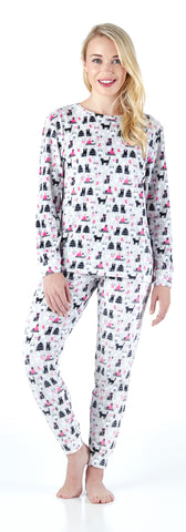 Frankie & Johnny Women's Longsleeve and Pant Printed Pajama in Cats