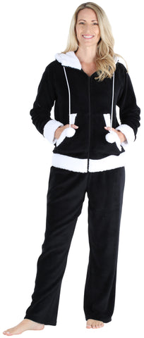Frankie & Johnny Women's Fleece 2-Piece Hoodie and Pant Pajamas Set in Black
