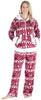 Frankie & Johnny Women's Fleece 2-Piece Hoodie and Pant Pajamas Set in Cranberry Winter