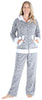 Frankie & Johnny Women's Fleece 2-Piece Hoodie and Pant Pajamas Set in Grey Stars