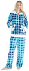 Frankie & Johnny Women's Fleece 2-Piece Hoodie and Pant Pajamas Set in Navy Blue Plaid