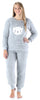 Frankie & Johnny Women's Sherpa Fleece Long Sleeve Pajama Set in Kitten