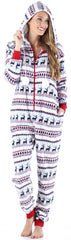 Frankie & Johnny Women's Fleece 2-Piece Hoodie and Pant Pajamas Set in Deer Fairisle