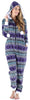Frankie & Johnny Women's Fleece 2-Piece Hoodie and Pant Pajamas Set in Purple Fairisle