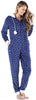 Frankie & Johnny Women's Hooded Fleece Non-Footed Onesie Loungewear Pajamas