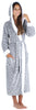 Frankie & Johnny Women's Fleece Sherpa-Lined Hooded Robe in Grey Stars