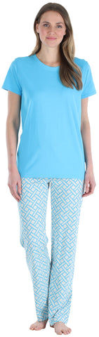 Frankie & Johnny Women's Shortsleeve and Pant Pajama Set in Basket Weave