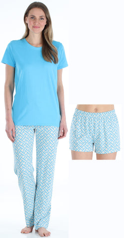 Frankie & Johnny Women's 3 Piece Knit Pajama Set - Top, Pant and Short in Basket Weave