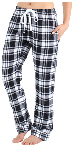Frankie & Johnny Women's 100% Cotton Flannel Pants in Black & White Plaid