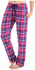 Frankie & Johnny Women's 100% Cotton Flannel Pants in Pink & Blue Plaid