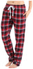 Frankie & Johnny Women's 100% Cotton Flannel Pants in Red Black Plaid